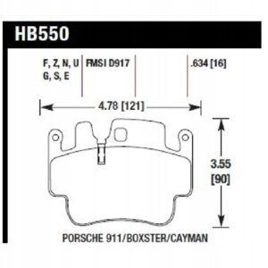 Klocki Hawk HPS Porsche 911 996/997 Boxster S 986 OEM HB550F.634